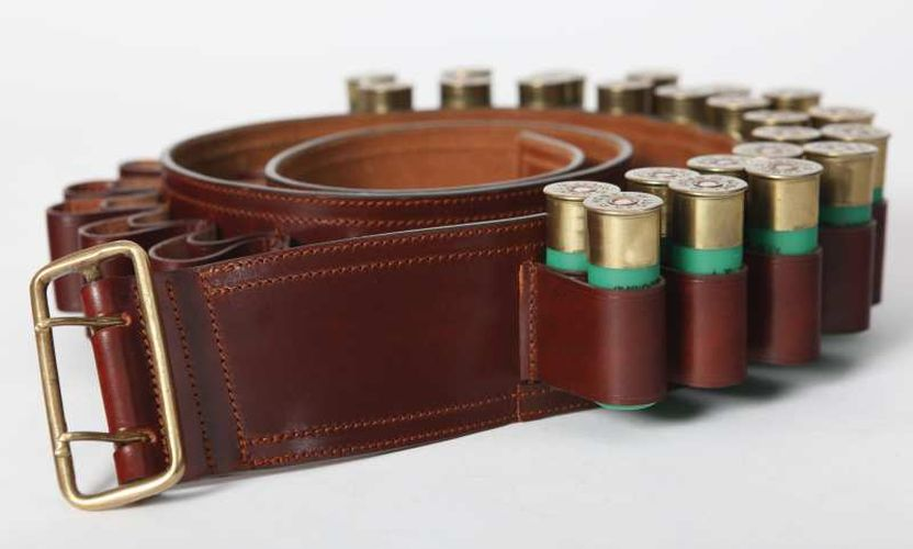 Canana cuero doble cartucho, Código: 11906.  Cartridge Belts || Leather Ref. 11906. Guarnicionería López, Sevilla.